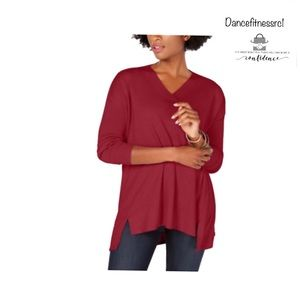 Womens Long Sleeve High-Low Over-Sized Tunic Top